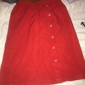 red calf length skirt
